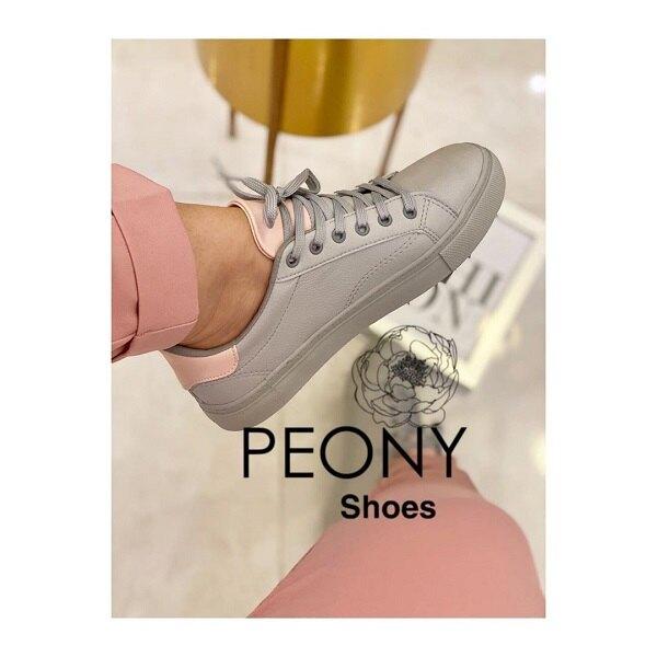 کفش اسپرت دخترانه طوسی صورتی